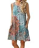 YOINS Sommerkleid Damen Kurz Sexy Kleid Elegant Strandkleid Schulterfrei Blumenmuster Ärmellos Minikleider EU32-34 13