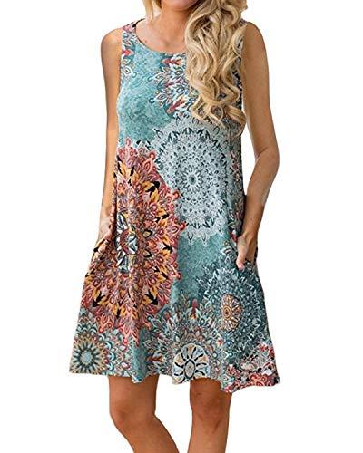 YOINS - Vestido de verano con estampado floral para mujer, sin mangas, cuello redondo, vestido de primavera