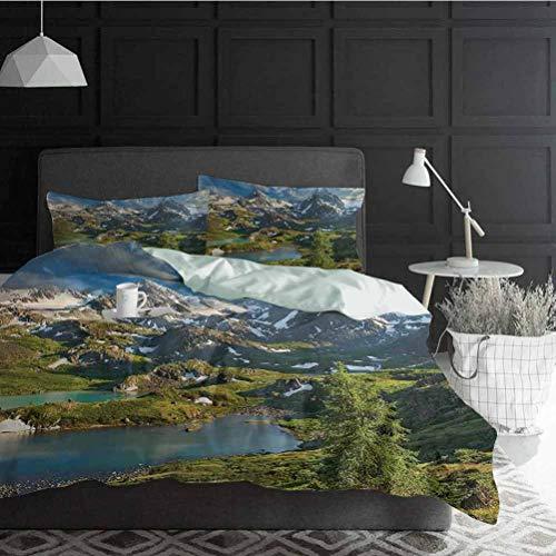 HouseLook Duvet Cover Set Landscape Wrinkle, Fade, Stain Resistant Mountain Lake Russia Siberia Altai Mountains Katun Ridge Snowy Peaks Decorative 3 Piece Bedding Set with 2 Pillow Shams, Full Size