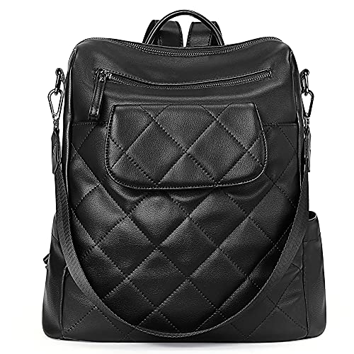 CLUCI Rucksack Damen Leder PU Elegant Lederrucksack Handtasche Frauen Rucksacktasche 2 in 1 (Schwarz Raute)