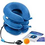 GimmeF Cervical Neck Traction Device - FDA Registered - Inflatable and Adjustable Neck Stretcher Collar, Instant Pain Relief for Chronic Neck and Shoulder Pain  with Therapy Massage Ball (Blue)