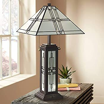 Sherman Mission Tiffany Style Table Lamp with Nightlight LED Oil Rubbed Bronze Geometric Stained Art Glass Shade for Living Room Bedroom House Bedside Nightstand Home Office - Robert Louis Tiffany