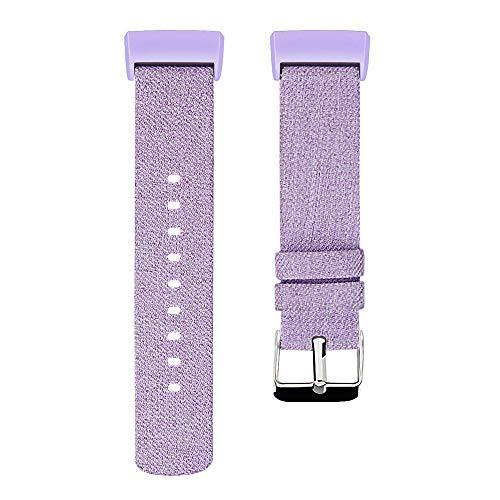 Luckhome Uhrenarmband Serie Lederarmband Ersatband Mit Edelstahl Metall Schließe Classic Armband Ersatz Band ,Ersatzgewebtes Canvas-Uhrenarmband-Handgelenkband für Fitbit Charge 3(Lila)