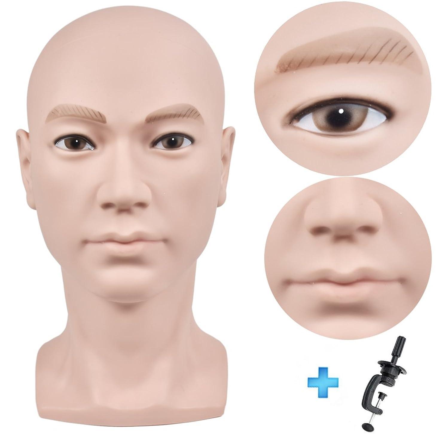 チェスをする布白雪姫髪のメイク、ディスプレイのかつら、メガネ、髪、Tピン、フリークランプのための禿げたマネキンヘッドベージュ男性プロの化粧品