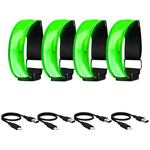 USB Aufladbares LED Armband, Leuchtband Reflektorband für Joggen Laufen Outdoor-Sportarten, Sicherheitslicht, Reflektor und Blinklicht für Kinder Erwachsene, mit Blinkende und statische LED-Funktionen