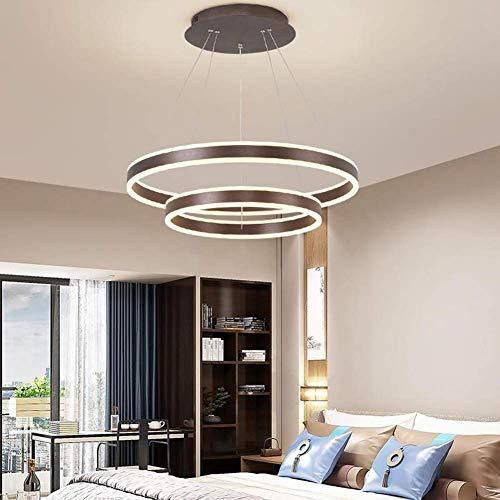 KMMK Novely Candelabros - Candelabro de altura ajustable Lámpara colgante redonda de 2 anillos Luminaria de acrílico blanco y metal marrón Lámpara de comedor Lámpara de techo Lámpara de sala de estar