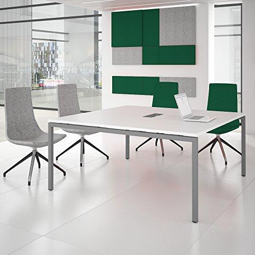 Weber Büroleben GmbH NOVA Konferenztisch 160x164cm Weiß mit ELEKTRIFIZIERUNG Besprechungstisch Tisch, Gestellfarbe:Silber