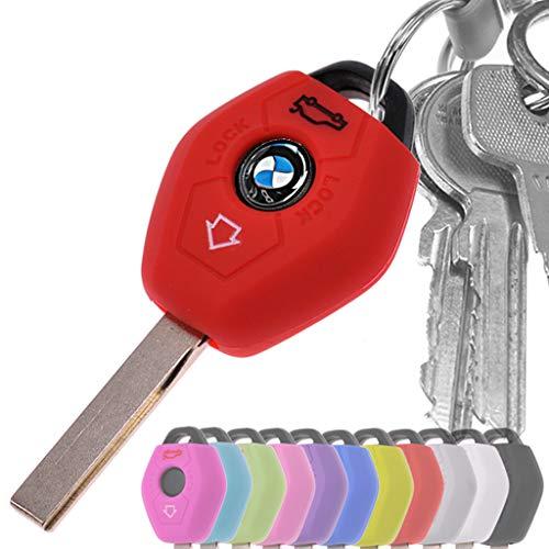 Auto Schlüssel Hülle Silikon Schutz Cover Rot für BMW E46 E83 E52 E85 E86 E39 E61 E60 E53