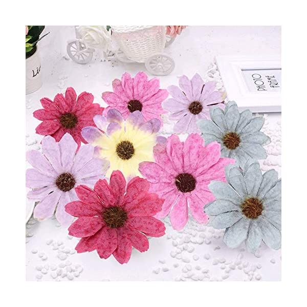 XHXSTORE 50pcs Flores Artificiales Pequeñas 6cm Cabeza de Margaritas Artificiales Decoracion Colores Flor Margaritas…