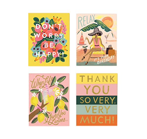 Assorted Happy Set Note Cards by Rifle Paper Co. -- Set of 8 Cards and Envelopes