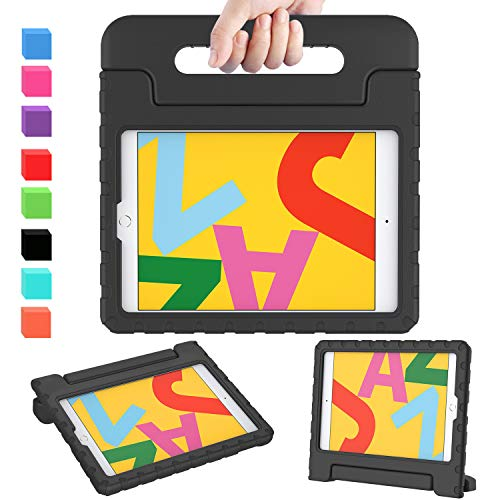 AVAWO iPad 10.2 Kids Case, ipad 7th Generation case, Light Weight Shock Proof Convertible Handle Stand Kids Friendly Case for iPad 10.2 inch 2019 Release and Air 3 - Black