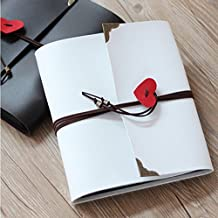 JM-capricorns Vintage Photo Album, Love Heart Leather Cover Scrapbook Album,DIY Photo Album,Wedding Guestbook,Graduation Book,Diary,Journal,Notebook (White)