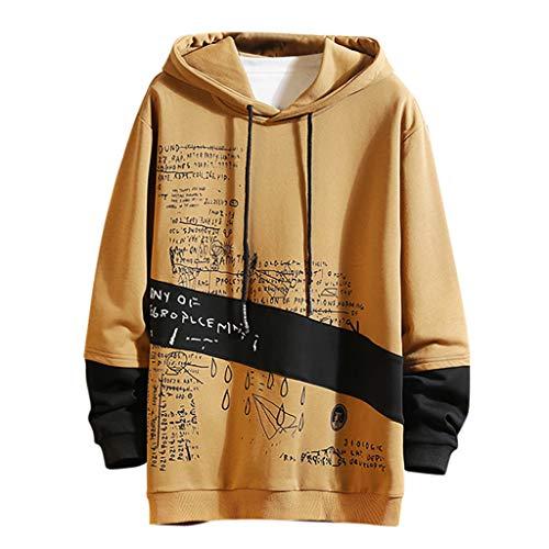 NIUQ Men's Casual Fashion Patchwork Hoodie Long Sleeves Sweatershirt Tops Khaki