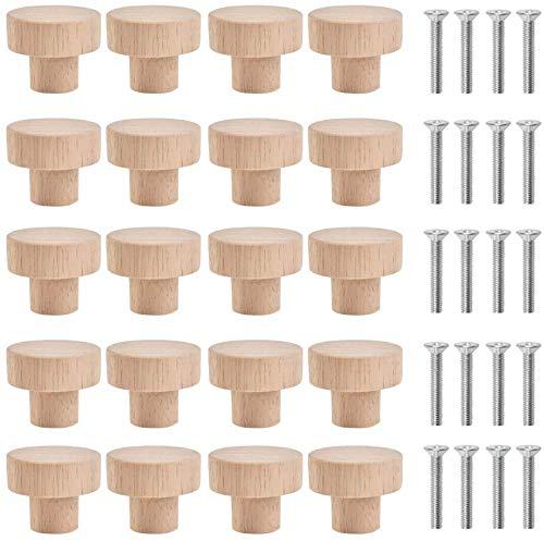 pomos redondos de madera Fiyuer 20 Pcs tiradores para cajones tiradores de muebles de cocina para instalación en cajones Armario Zapatero
