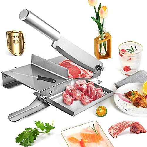 Cortador de Carne y Hueso, Vogvigo Cortafiambre Manual de 9.5 Pulgadas con Afilador de Cuchillo Cortafiambres Pequeño de Alimentos de Acero 304 Inoxidable Grosor 0-45mm Ajustable para Cocinar