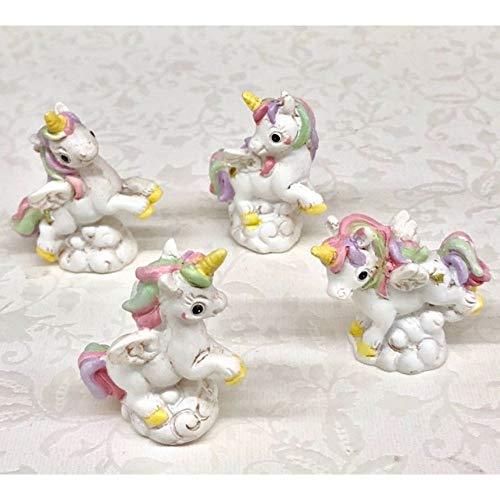 Publilancio srl 12 PZ Unicorno Arcobaleno Piccolo in Resina 4x3 cm BOMBONIERA