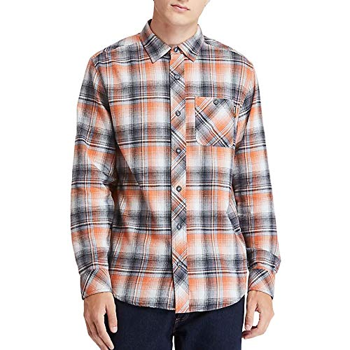Photo of Timberland Pro Men's Woodfort Mid-Weight Flannel Work Shirt Utility Button, Autumn Portland Plaid, S
