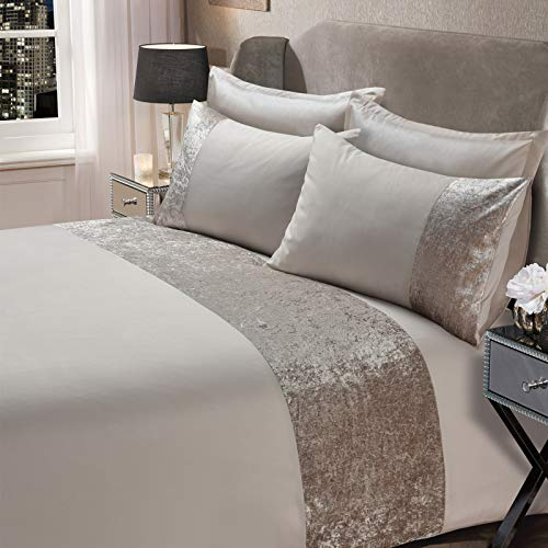 Sienna Crushed Velvet Panel Band Duvet Cover with Pillow Case Bedding Set - Natural Champagne, King