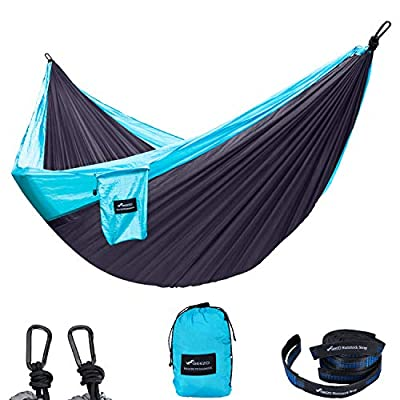Geezo Double Camping Hammock, Lightweight Portable Parachute (2 Tree Straps 16 LOOPS/10 FT Included) 500lbs Capacity Hammock for Backpacking, Camping, Travel, Beach, Garden (Light Blue/Dark Gray)