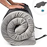 Zermätte Roll Up Memory Foam Mattress | Portable Folding Sleep Mat, Pad & Topper for Floor, Bed Frame or Camping Cot with Waterproof Cover, Travel Bag w/ Straps, Eye Mask & Ear Plugs