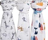 3 Stück lange Baby | 120 cm x 120 cm Decke Tuch für Babys | 3 Modelle Tiere niedlich | Musselin-Baumwolle | Unisex für Jungen oder Mädchen | Beste Babydecke … (Forstflächen)