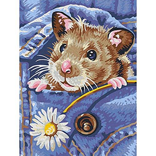 Diy 5D Kits De Pintura De Diamantes Taladro Completo Hamster Imágenes De Diamantes De Imitación Decoración Flores Para El Hogar Mosaico Bordado De Diamantes Animales Artesanías Hechas A Mano 40x50cm