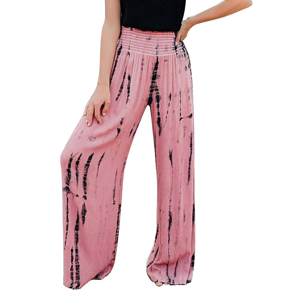 Womens Palazzo Lounge Pants Tie Dyeing High Waist Cropped Pant Colorful Wide Leg Capri Culottes Trousers Loose Flowy Summer Casual Yoga Workout Pants