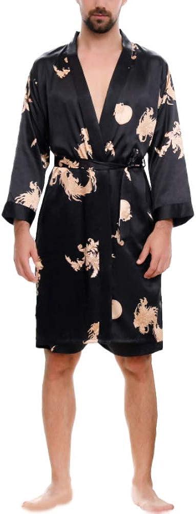 discountstore145 Men Imitation Silk Dragon Print Bath Robe Short Pants Pajama Sleepwear Set