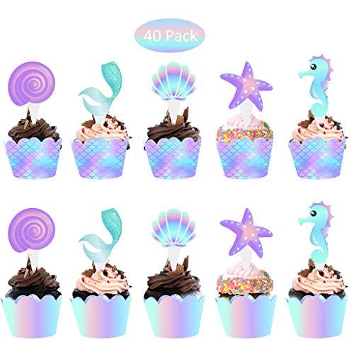 Baipin 40 Stücke Meerjungfrau Kuchen Dessertdekoration, Cupcake Toppers Wrappers, Kuchendeckel und Verpackung Dekoration Supplies für Baby Mädchen Kinder Geburtstag Party
