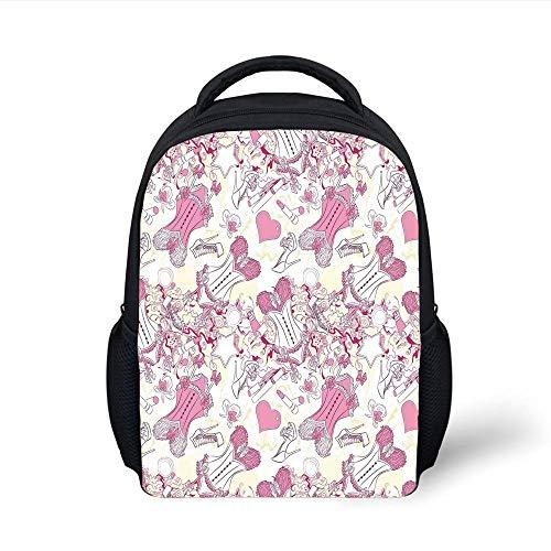 Kids School Backpack Girls,Old Fashioned Female Sexy Corset Accessories Vintage Girls Room Floral Design Print Decorative,Pink Beige Plain Bookbag Travel Daypack