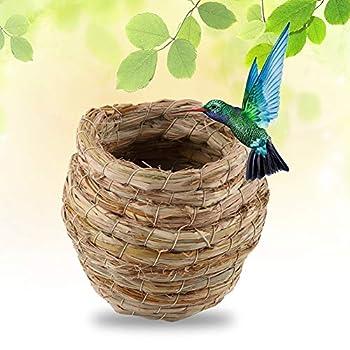 Nid d'oiseau en paille tissée à la main pour perroquet, canari, pinson, calopsitte ou autres petits animaux