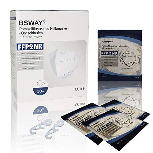 BSWAY 10St FFP2 Partikelfiltrierende Schutzmaske mit Clip CE Prüfstelle 2834 Einzeln Verpackt Mundschutzmaske Partikelfiltermaske
