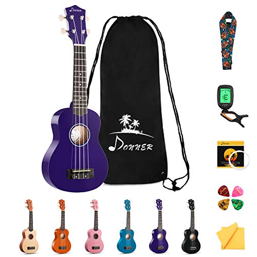 Donner Soprano Ukulele Beginner Kit for Kid Adult Student with Online Lesson 21 Inch Ukelele Bundle Bag Strap String Tuner Pick Polishing Cloth, Rainbow Series-Purple Color DUS-10P