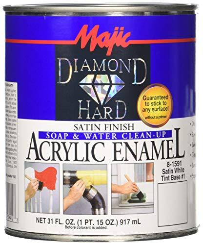 Majic Paints 8-1591-2 Diamond Hard Acrylic Enamel Satin Paint, 31 oz, White Tint Base #1