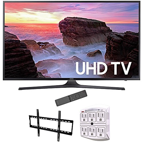 Samsung 74.5 Inch 4K Ultra HD Smart LED TV 2017 Model (UN75MU6300) Bundle with Stanley 6-Outlet Surge Adapter with Night Light & Vivitar Low Profile Flat TV Wall Mount 50inch-80 inch
