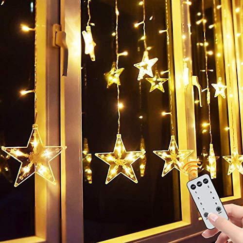 Yinuo Candle LED Lichterkette mit 138 LEDs Lichtervorhang weihnachtslichter Sternenvorhang 8 Modi Für Innen Außen, Sterne Vorhang Lichter, Weihnachten, Party, Hochzeit, Garten, Balkon, Deko