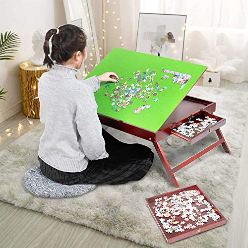 Fanwer Puzzle Table, Wooden Jigsaw Puzzle Tables for Adults Portable Large with 2 Sliding Drawers and Tilting Board,Folding Puzzle Board with Non-Slip Surface, Up to 1000 Pieces