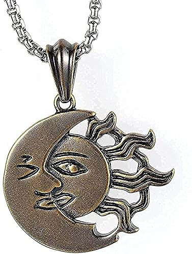 Yiffshunl Collar con Colgante de Acero de Titanio Collar con Accesorios de Colgante de Acero Inoxidable Collar de Luna en Bronce de Sol con Colgante de Acero de Titanio Regalo para Mujer Hombre Regal