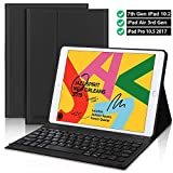 Newest iPad 7th Gen Keyboard Case 10.2 2019- iPad Air 3 Keyboard case- iPad 10.5 Keyboard- Detachable Wireless Bluetooth Keyboard- iPad Case with Keyboard for iPad 10.2 Inch 10.5 Inch–Black