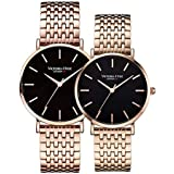 VICTORIA HYDE Luxury Rose Gold Couple Watches for Men Women Stainless Steel Mesh Band Waterproof Valentines Day Gifts