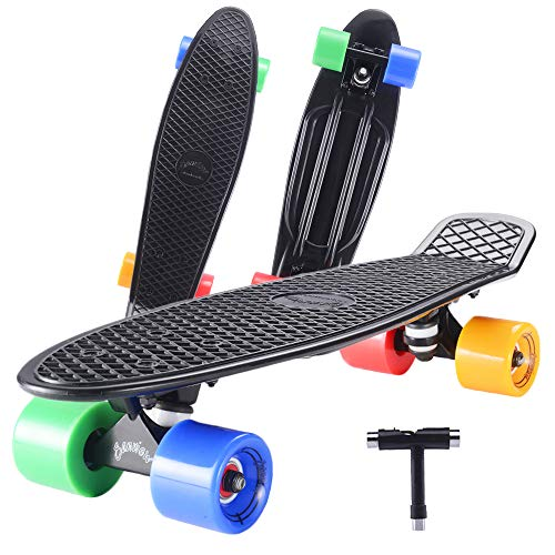 SANVIEW Complete 22 Inch Mini Cruiser Skateboard for Youths Beginners or Kids (Black)
