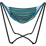 Sunnydaze Hanging Rope Hammock Chair Swing with Space-Saving Stand - Hanging Chair with Stand for Backyard & Patio - 330-Pound Capacity - Ocean Breeze