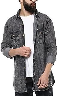 Urbano Fashion Men's Charcoal Grey Denim Solid Casual Shirt