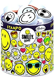 Smiley World and Aladine - Stampo Smiley - Emoji Tampons Set - Creative Toys and Games - Box of 38 Tampons + Included Auct...