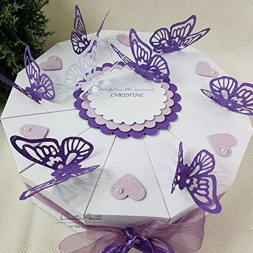 Hochzeitsgeschenk - Schachteltorte m. Schmetterlingen & Herzen - Butterfly WEISS-LILA-FLIEDER - Geldgeschenk, Geschenkidee Hochzeit