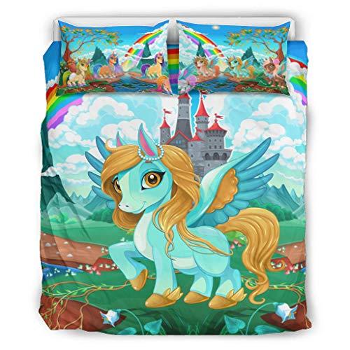 BOBONC Unicorn Chic Design Bedding Set dekbedovertrekset ademend beddengoed set voor kinderen jongens meisjes 100% polyester met rits