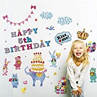 誕生日 飾りウォールステッカー ロリポップ バースデー 2枚セット 装飾 店内装飾 飾り付け ゾウ 動物 かわいい おしゃれ 装飾