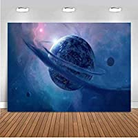 ZPCギャラクシー背景7x5ftブルーアース宇宙宇宙背景写真ビニール宇宙テーマパーティー背景Facebookスタジオ写真ブース小道具TVV024