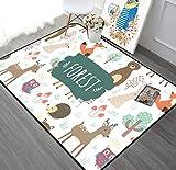 Kinderteppich Cartoon Tier Wald Freunde Kinder Teppiche Babyzimmer Spielen Krabbeln Boden Decke 80cmx150cm