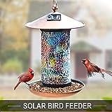 Solar Bird-Feeder for Outside Hanging Outdoor - Solar Powered Garden Lantern Light Bird-House Wild Hanging Birdfeeder Waterproof Unique Retro Mosaic Copper Bird Feeder for Outdoors